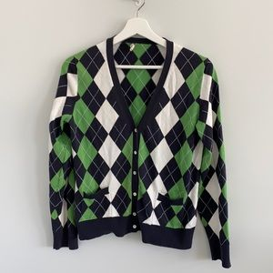 J.crew argyle sweater cardigan